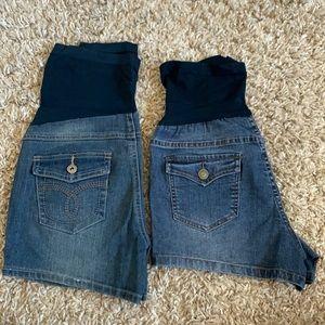 Maternity denim jean shorts lot bundle EUC